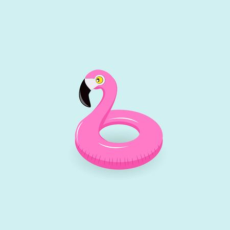 Flamingo inflatable pool float illustration on blue background.