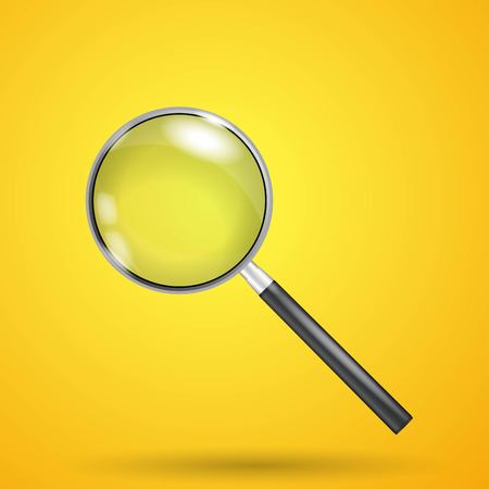 Realistic magnifier, isolated on yellow background.