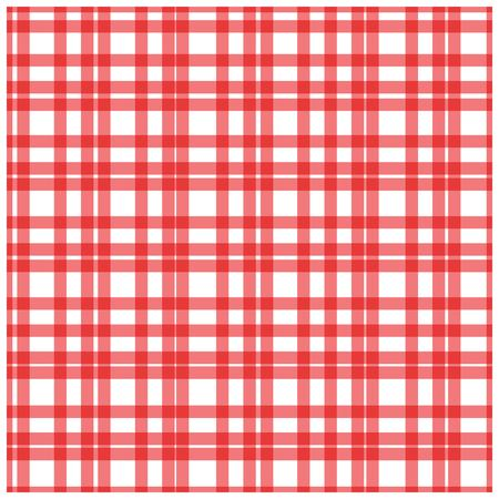 Red plaid checkered gingham pattern vector illustration. Vectores