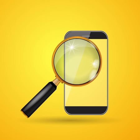 Vector smartphone and magnifying glass on yellow background.