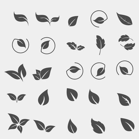 Set of black Tree Leaf flat icon Ilustracja