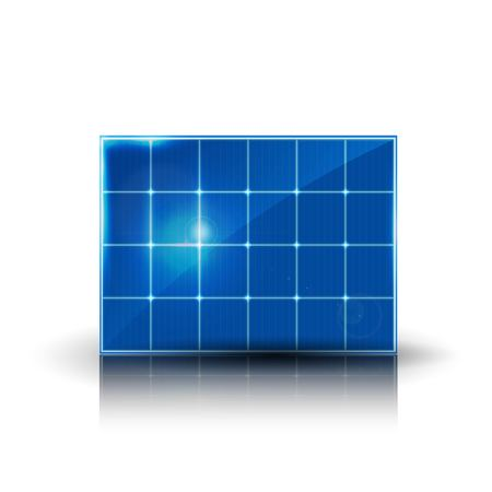 Solar electric panel produce electricity. Vector color illustration.
