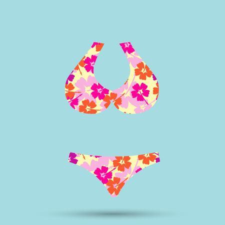 women's swimsuit design. Fashion bikini 矢量图像