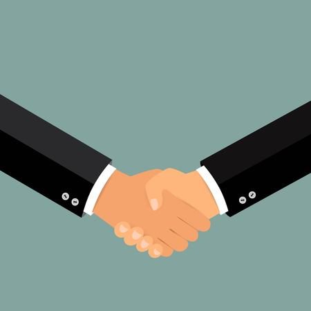 Business handshake, Shaking hands flat design concept, Handshake, business agreement, bet, partnership concepts. Two hands shaking each other. Vector illustration