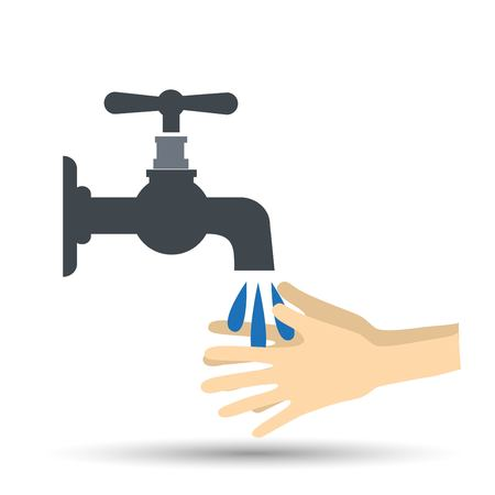 Hands under falling water out of tap. vector illustration in flat style Illustration
