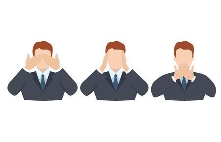Mann, der Augen, Ohren und Mund mit den Händen bedeckt, wie die drei weisen Affen. Sehen Sie nicht, hören Sie nicht und sprechen Sie keine Konzeptillustration im Vektor-Cartoon-Stil.