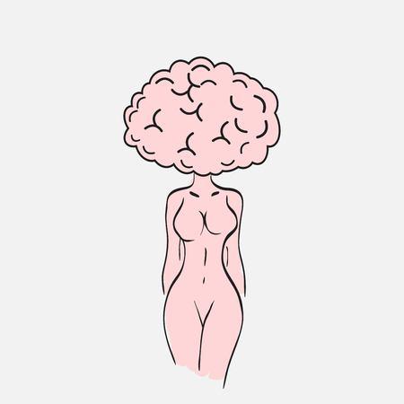 Woman brain. Brain like woman. Ilustracja