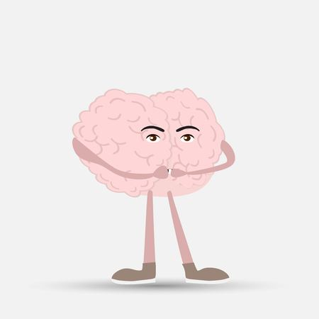 human brain closed his mouth, vector illustration
