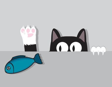 Cat catches fish