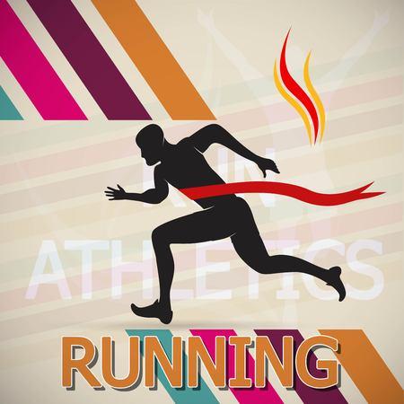Running and Marathon Logo Vector Illustration