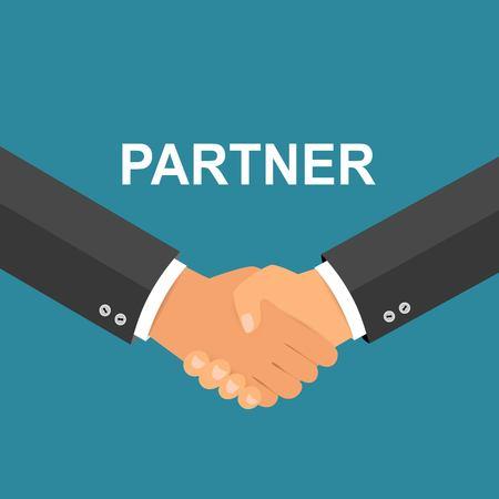 Handshake-Symbol. Hände schütteln, Zustimmung, gutes Geschäft, Partnerschaftskonzepte. Vektorbild