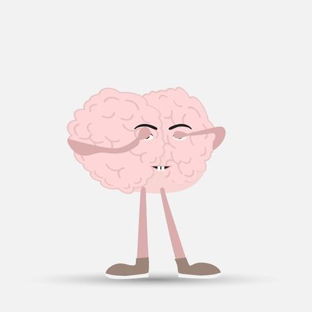 human brain closed his eyes, vector illustration Stock Illustratie