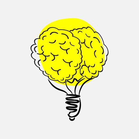 Light bulb brain icon. Vector illustration Illustration