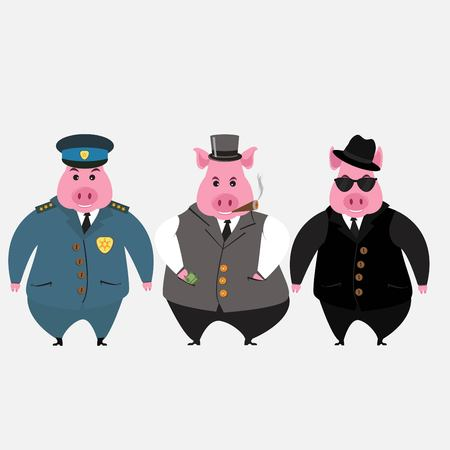 Three adult pigs a policeman, a businessman and a detective. Funny vector illustration isolated on white background.