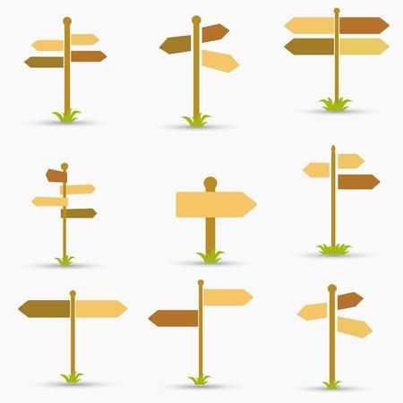 Road signs icons set. Flat design. Vector illustration 矢量图像