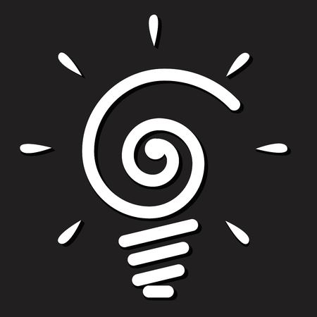 Light bulb icon on black background.