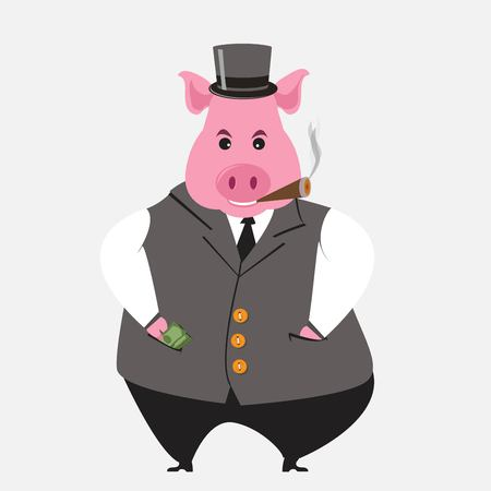 Funny cartoon capitalist pig caricature. Rich piggy boss with cigar, monocle and top hat.
