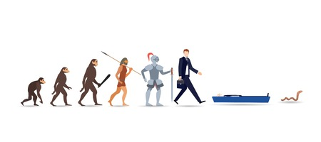 Human evolution stages. Evolutionary process and gradual development visualization from monkey or primate to businessman dressed in suit carrying briefcase. Flat cartoon colorful vector illustration Banco de Imagens - 118124247