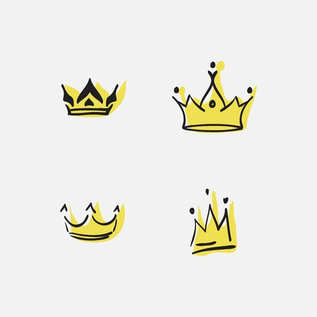 Graphic modernist element drawn by hand. royal crown of gold. Isolated on white background.