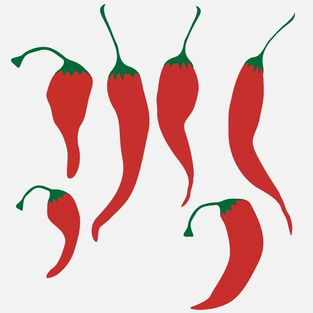 Set of hot chilli pepper isolated on white background
