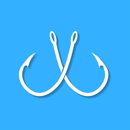 Barbed fish hook illustration on blue background