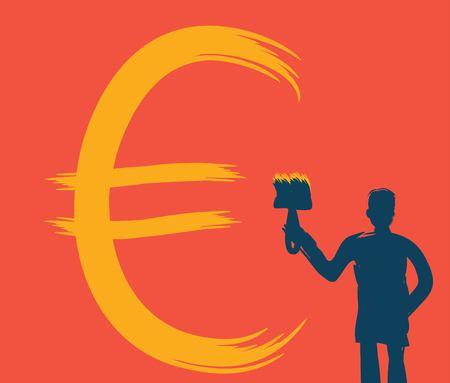 Man with a brush draws money sign, vector illustration, red background, paint texture, dollar, economy, finance, commerce, artist, artist, money, profit, finance, business, bank, cash, symbol