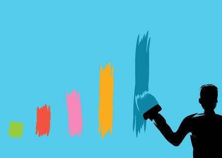 Business man painting bar graph paint roller Flat style modern vector illustration. Illustration