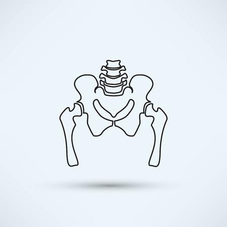 pelvis skeleton silhouette icon