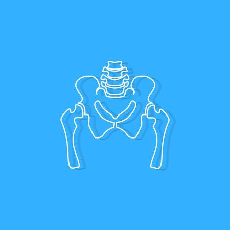 pelvic bone on blue background Çizim