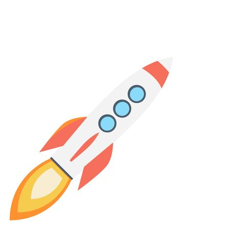 Colored rocket ship icon in flat design.