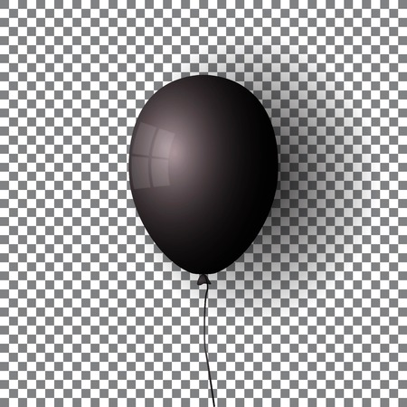 Black Balloon. Transparent isolated air ball.