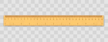 Realistic School wooden measuring ruler