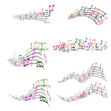 Set of Colorful Musical Notes Illustration Banque d'images - 119283439