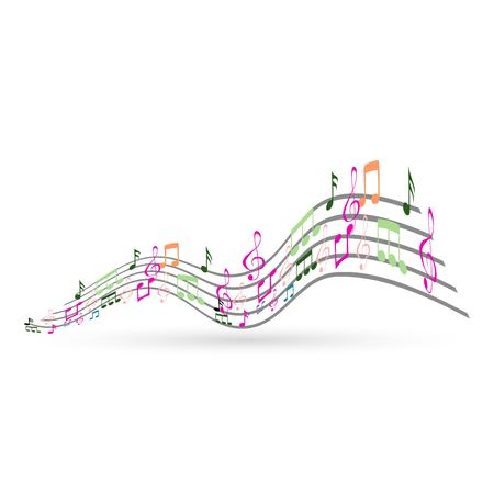 Abstract Background with Colorful Music notes 向量圖像