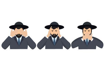 L'uomo che copre gli occhi, le orecchie e la bocca con le mani sembra le tre scimmie sagge. Non vedere, non sentire e non parlare illustrazione del concetto in stile cartone animato vettoriale.