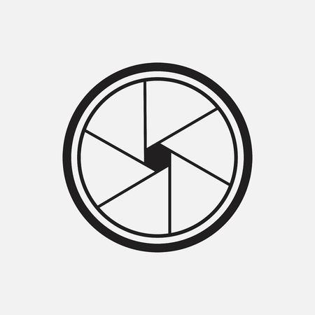 Vektor-Illustration des Kameraverschlusses, isoliert auf weißem Hintergrund