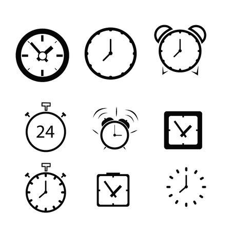 Set of clock flat icon Stock Illustratie