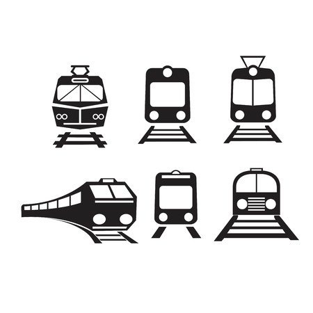 Set of trains isolated vector icons