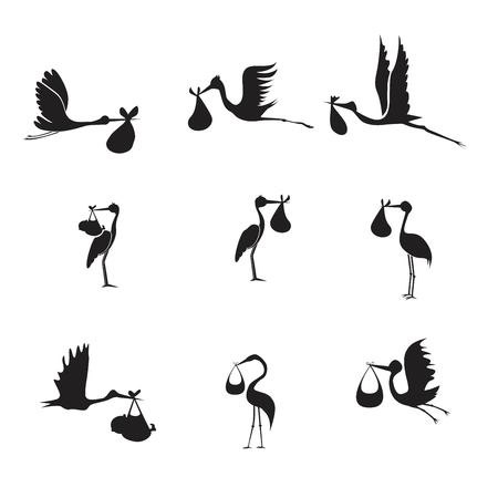 Storch und Baby Set schwarz auf weißem Hintergrund