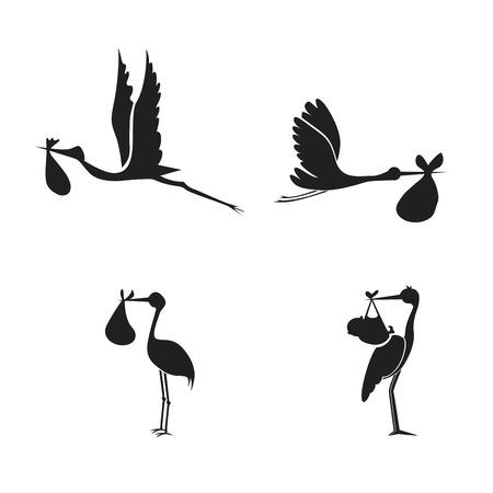 stork and baby set black on white background Vector Illustration