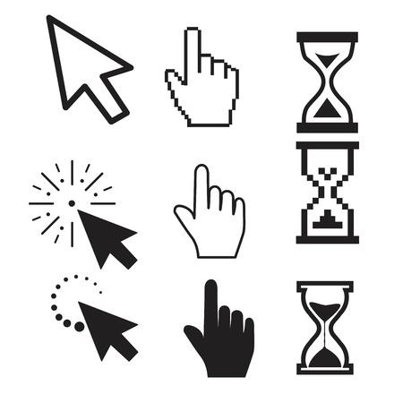 Zestaw płaskich nowoczesnych ikon kursora
