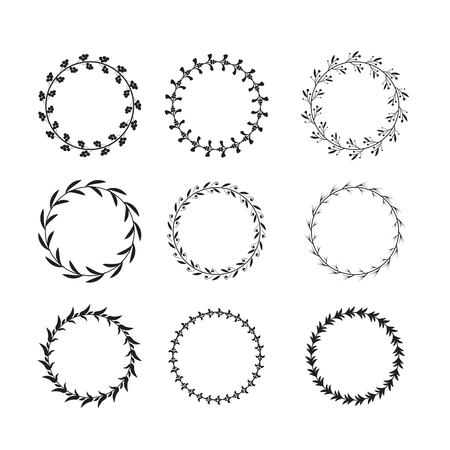 Collection of black and white circular laurel wreaths for use as design elements Vectores