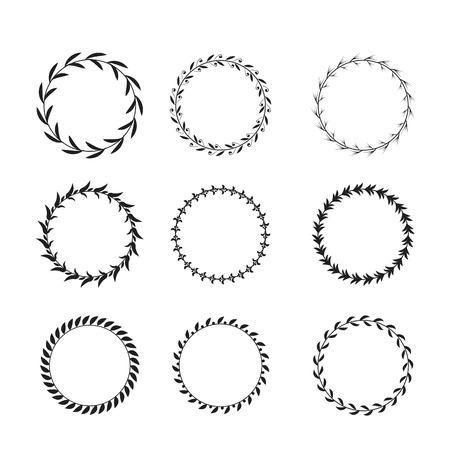 Collection of black and white circular laurel wreaths for use as design elements Vektoros illusztráció