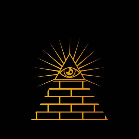 yellow pyramid icon isolated on black background