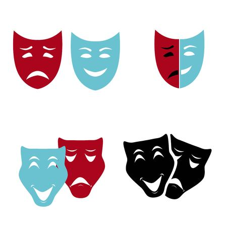 Theatrical masks set isolated on white background