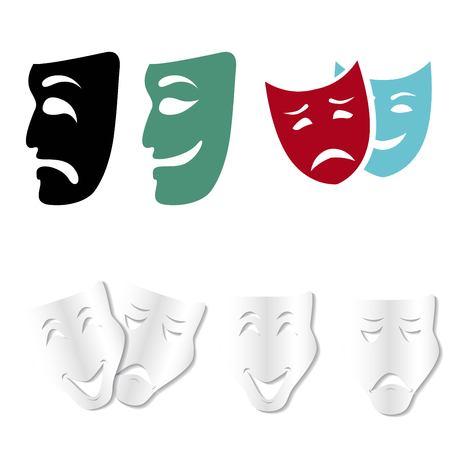 Theatrical masks set isolated on white background Illustration