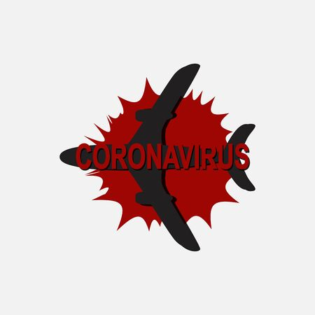 black silhouette of a flying plane and a coronavirus sign. Vector illustration isolated on a white background 矢量图像