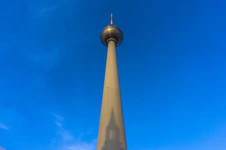 tv tower: TV Tower with shadow of St. Marys Church in Berlin, Germany