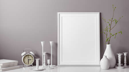 3D rendering of white and blank photo or picture frame in front of gray wall as template or mockup with vase and candlestick as decoration in or room at home with copy space Standard-Bild