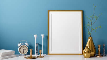 3D rendering of blank photo or picture frame in front of blue wall as template or mockup with vase and candlestick as decoration in room at home with copy space Standard-Bild